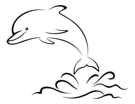 바다 파도 위에 만화 돌고래 점프, 검정 윤곽선 픽토그램 흰색 배경에 고립입니다. 벡터