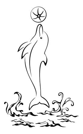 dolphin: Cartoon Dolphin sautant par-dessus les vagues de la mer, jouant avec un ballon, Noir Contours pictogramme isolé sur fond blanc. Vecteur