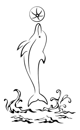 Cartoon Dolphin Jumping Over the Sea Waves, Playing with a Ball, Black Contours Pictogram Isolated on White Background. Vector