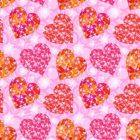 cordial: Seamless Background, Valentine Holiday Hearts with Butterflies and Abstract Pattern. Eps10, Contains Transparencies. Vector Illustration