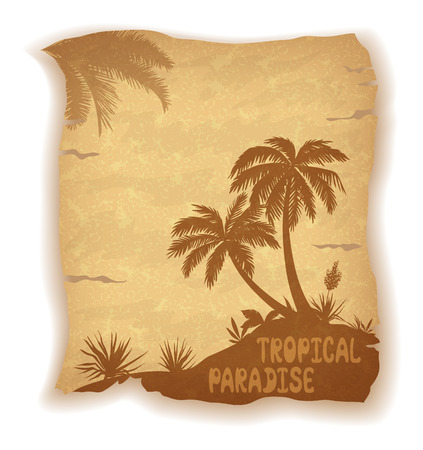 palm trees: Tropical Landscape, Sea Island with Palm Trees, Flowers and Grass Silhouettes and Inscription on Vintage Background of an Old Sheet of Paper. Eps10, Contains Transparencies. Vector Illustration