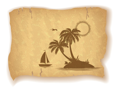 mew: Tropical Landscape, Sea Island with Palm Trees, Ship, Sun and Bird Gull Silhouettes on Vintage Background of an Old Sheet of Paper. Eps10, Contains Transparencies. Vector