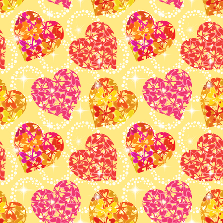 pink wallpaper: Seamless Background, Valentine Holiday Hearts with Butterflies and Abstract Pattern. Eps10, Contains Transparencies. Vector Illustration