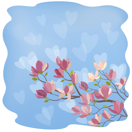 magnolia branch: Background for the Valentines Day Holiday, Spring Magnolia Branch with Flowers Against The Blue Sky and White Hearts Silhouettes. Contains Transparencies. Vector Illustration