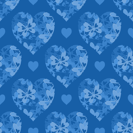 cordial: Seamless Background, Valentine Holiday Hearts with Butterflies and Abstract Pattern. Contains Transparencies. Vector Illustration