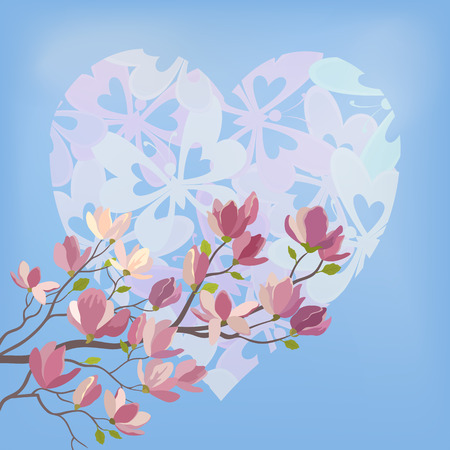 magnolia tree: Background for the Valentines Day Holiday, Spring Magnolia tree Branch with Flowers Against The Blue Sky and the Heart of Silhouettes Butterflies. Contains Transparencies. Vector