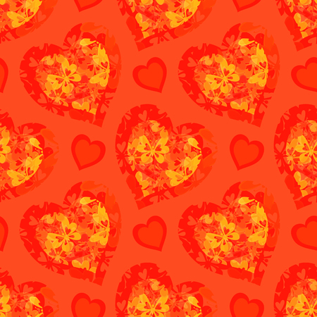transparencies: Seamless Background, Valentine Holiday Hearts with Butterflies and Abstract Pattern. Contains Transparencies. Vector Illustration