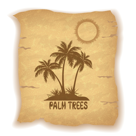sea grass: Tropical Landscape, Sea Island with Palm Trees and Grass, Sun and Inscription Silhouettes on Vintage Background of an Old Sheet of Paper. Contains Transparencies. Vector Illustration