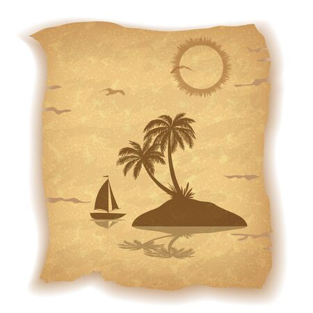 islet: Tropical Landscape, Sea Island with Palm Trees, Ship, Sun and Bird Gull Silhouettes on Vintage Background of an Old Sheet of Paper. Contains Transparencies. Vector Illustration