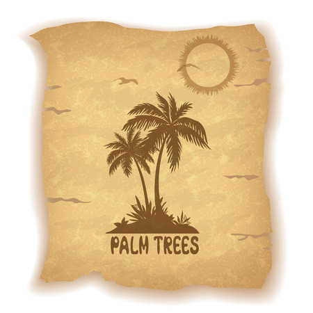 sea grass: Tropical Landscape, Sea Island with Palm Trees and Grass, Sun, Bird Gull and Inscription Silhouettes on Vintage Background of an Old Sheet of Paper. Contains Transparencies. Vector