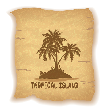 sea grass: Tropical Landscape, Sea Island with Palm Trees and Grass Silhouettes on Vintage Background of an Old Sheet of Paper. Illustration