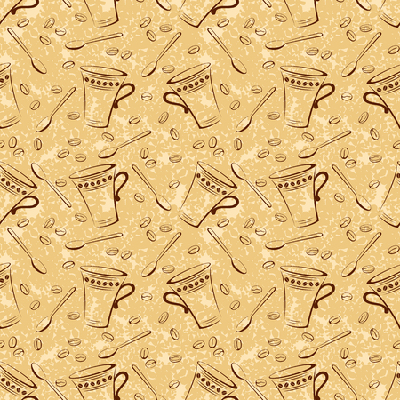 tipple: Seamless Pattern, Coffee Beans, Cups and Spoons Brown Contours on Abstract Background.