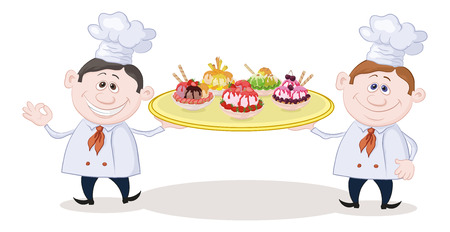 cartoon strawberry: Cartoon Cooks Chefs Holding a Tray with Plates of Sorbet Fruit Ice Cream. Illustration