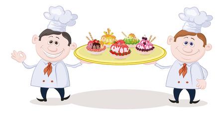 cartoon ice cream: Dibujos animados chefs cocineros sostiene una bandeja con placas de Sorbete de helados de frutas. Vectores