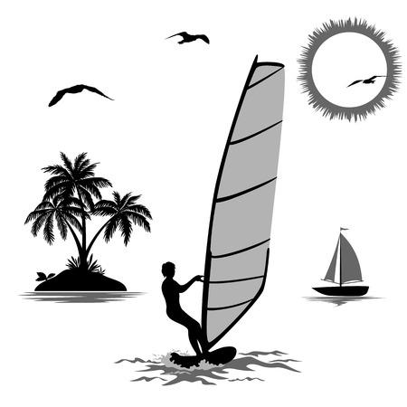 windsurf: Conjunto de elementos que simboliza las vacaciones en las zonas tropicales, los deportistas que practica surf, isla con palmeras, barco de vela en el mar, el sol y los pájaros, Negro y siluetas gris aislado en el fondo blanco. Vector