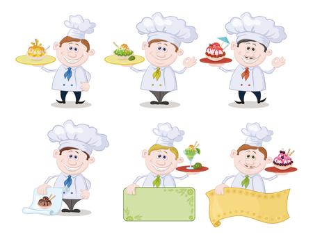 cartoon ice cream: Conjunto de dibujos animados cocineros chefs con helado y un espacio en blanco Poster de textos publicitarios, aislado sobre fondo blanco. Eps10, contiene las transparencias. Vector