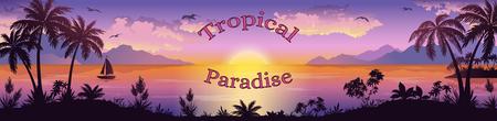 arbres silhouette: Paysage Mer, Silhouettes îles de montagne avec palmiers et fleurs exotiques, Navire, Ciel avec des nuages, le soleil et les oiseaux Mouettes les mots Tropical Paradise. Eps10, Contient Transparents. Vecteur