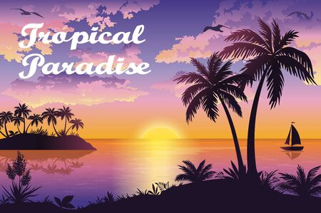 Tropical Sea Landscape, Silhouettes Island with Palm Trees and Exotic Flowers, Ship, Sky with Clouds, Sun and Birds Gulls. Eps10, Contains Transparencies. Vector