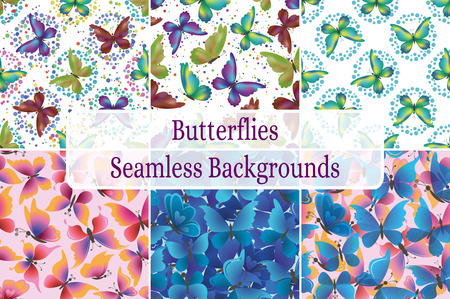 pink wallpaper: Set Seamless Backgrounds, Patterns of Symbolical Colorful Butterflies. Eps10, Contains Transparencies. Vector