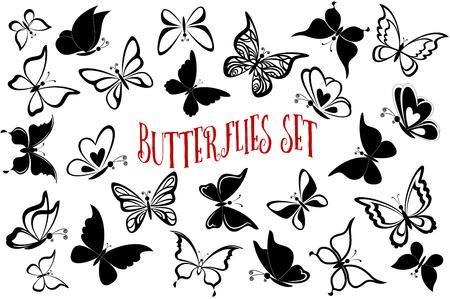 mariposa caricatura: Establecer mariposas pictogramas, Monocromo Negro contornos y siluetas aisladas en el fondo blanco. Vectores