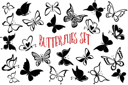 butterfly: Set Butterflies Pictograms, Monochrome Black Contours and Silhouettes Isolated on White Background.