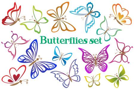 tattoo butterfly: Impostare farfalle pittogrammi, contorni colorati isolato su sfondo bianco. Vettore Vettoriali