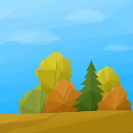 low poly: Low Poly Landscape, Autumn Forest with Coniferous and Deciduous Trees and Blue Sky with Clouds. Vector