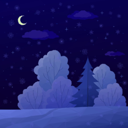snow forest: Low Poly Christmas Landscape, Night Winter Forest with Coniferous and Deciduous Trees and Snow. Vector Illustration
