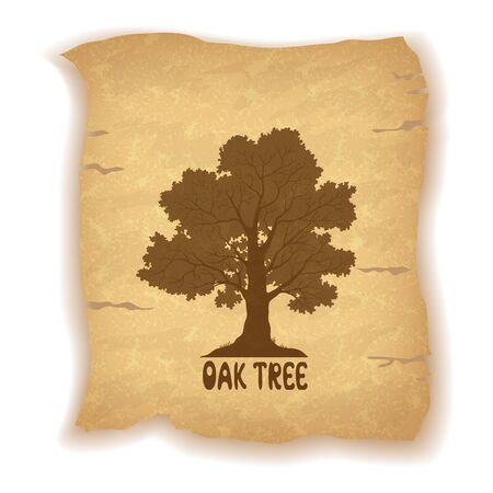 oak wood: Oak Tree Silhouette and the Inscription on the Vintage Background of an Old Sheet of Paper. Eps10, Contains Transparencies. Vector