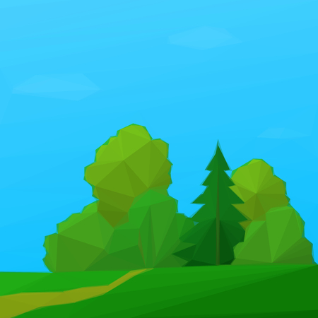 bucolical: Summer Low Poly Landscape, Forest with Coniferous and Deciduous Trees and Blue Sky with Clouds. Vector