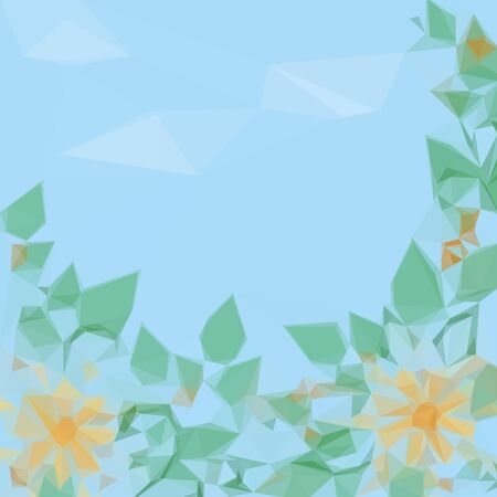 symbolical: Symbolical Low Poly Flowers and Leaves on a Background of Blue Cloudy Sky. Vector