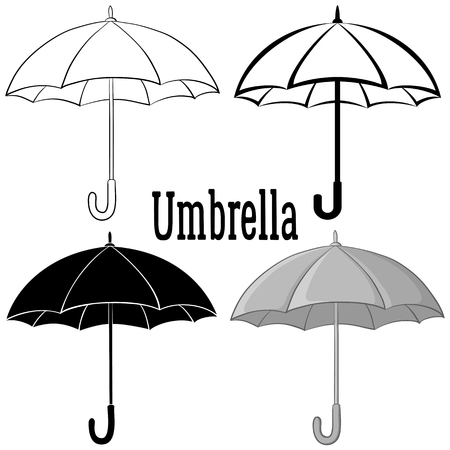 Umbrella Set, Black Contours, Silhouettes, Pictogram and Grey Isolated on White Background. Vector