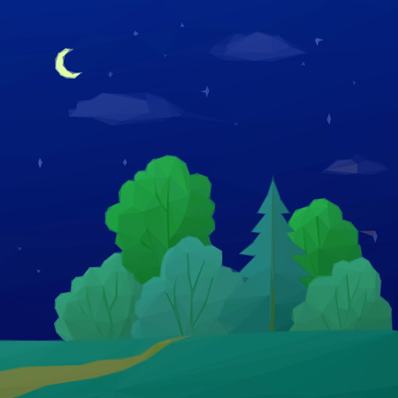 pastoral: Low Poly Summer Landscape, Night Forest with Green Coniferous and Deciduous Trees and Sky with Clouds, Moon and Stars. Vector