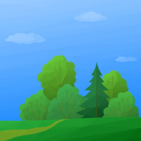 deciduous: Summer Low Poly Landscape, Forest with Coniferous and Deciduous Trees and Blue Sky with Clouds. Vector