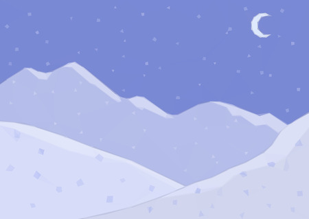 newyear: Low Poly Landscape, Night Snowy Mountains and Moon in the Sky. Vector