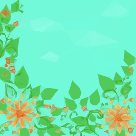 symbolical: Low Poly Floral Pattern, Symbolical Flowers and Leaves on a Green Background. Vector
