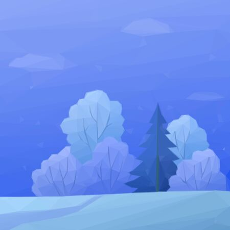 snow forest: Christmas Landscape, Low Poly Winter Forest with Coniferous and Deciduous Trees and Snow. Vector