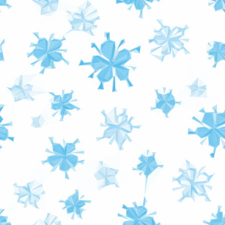 symbolical: Abstract Seamless Low Poly Floral Polygonal Christmas Pattern with Blue Symbolical Flowers Snowflakes Isolated on White Background. Vector
