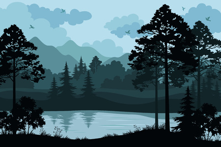 river bank: Evening Forest Landscape, Silhouettes Pines and Fir Trees, Bushes, Grass on the Mountain River Bank and Cloudy Sky with Birds. Vector Illustration