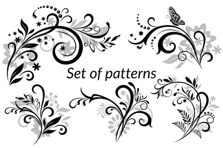 butterfly: Set of Vintage Calligraphic Elements, Floral Patterns and Butterfly, Black and grey Silhouettes Isolated on White Background. Vector
