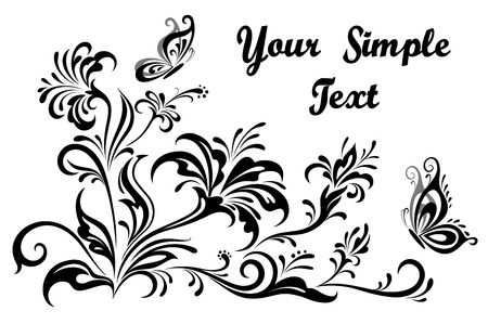 symbolical: Vintage Calligraphic Floral Patterns, Symbolical Flowers And Butterflies, Black and Grey Silhouettes Isolated on White Background.