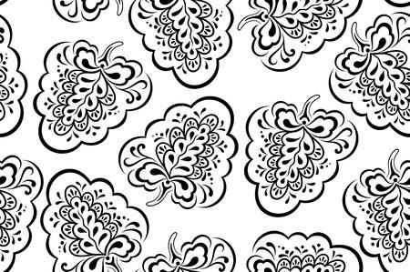 シームレスな象徴的な花柄、黒の輪郭が白い背景に分離されました。