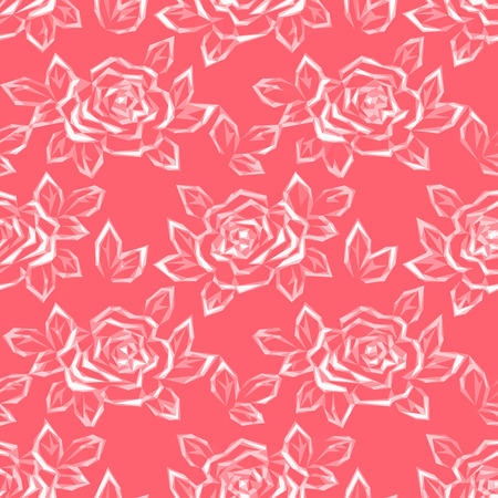 pattern geometric: Floral Background with Flower Rose Pictogram, Low Poly Pattern.