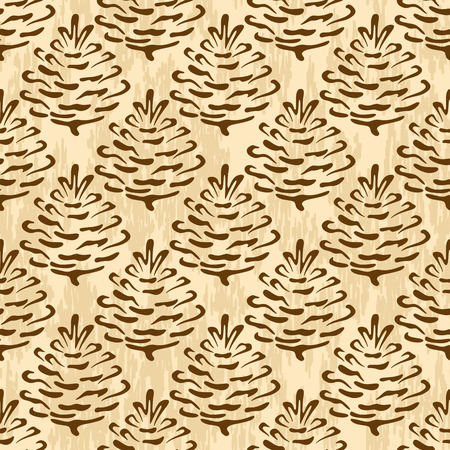 coniferous tree: Seamless Floral Ornament, Brown Outline Pictogram Cones of Coniferous Tree on Abstract Background.