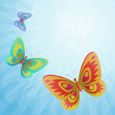 creature: Colorful Butterflies Fly in the Blue Summer Solar Sky with Beams, Low Poly Polygonal Background.