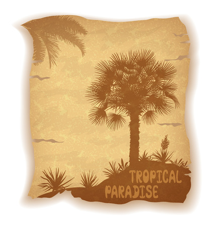 subtropical: Tropical Palm Trees, Flowers and Grass Silhouettes and Inscription on Vintage Background of an Old Sheet of Paper.