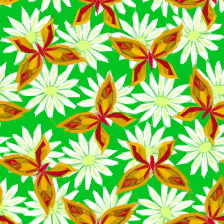 symbolical: Symbolical Colorful Butterflies and Flowers, Floral Ornament, Polygonal Pattern, Low Poly Background. Illustration