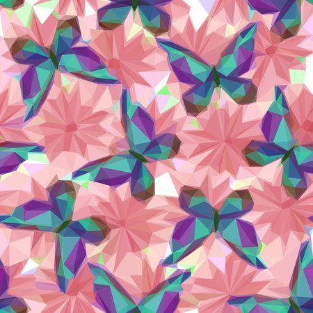 symbolical: Symbolical Colorful Butterflies and Flowers, Floral Ornament, Polygonal Pattern, Low Poly Background. Vector