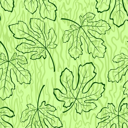 fig leaf: Seamless Tile Background, Fig Tree Green Leaves and Abstract Pattern. Vector