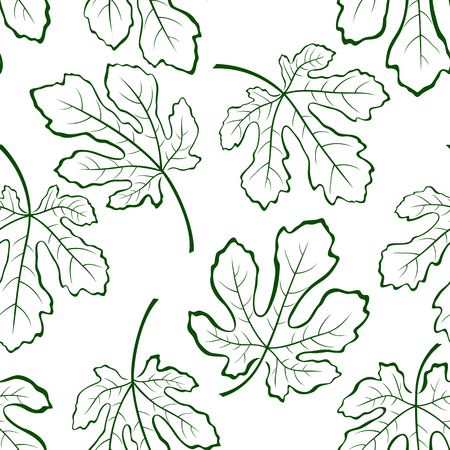 subtropical: Seamless Tile Pattern, Fig Tree Green Leaves Outline Contour Pictograms Isolated on White Background. Vector